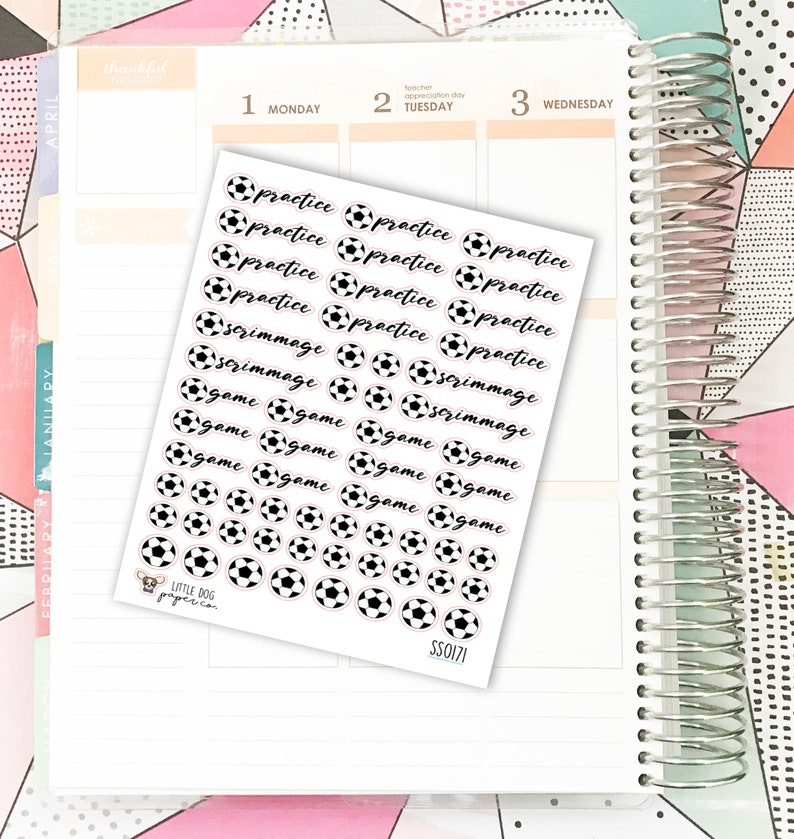 SS0171 // Soccer Practice Game Scrimmage // Planner Stickers image 0