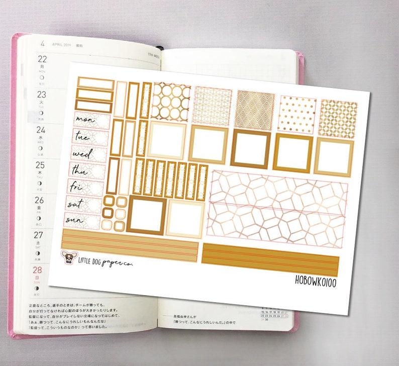 HOBOWK0100 // Hobonichi Weeks Planner Sticker Kit // Golden image 0