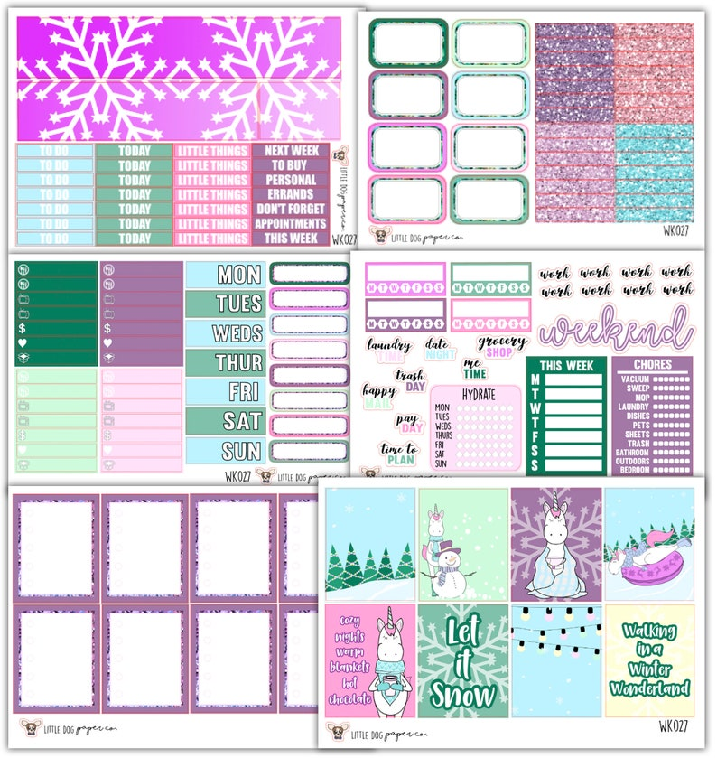 WK027 Winter Unicorn Collection  Planner Stickers