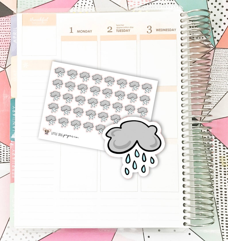 SS0165 // Rainy Weather // Planner Stickers image 0