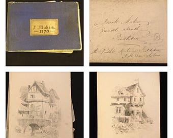 Victorian Sketch Book, 1870's Victorian Sketches, Victorian Drawings, Vintage Sketch Booklet