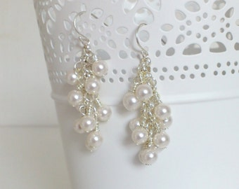 Earrings clusters - Pearls white with crystal Swarovski - Money(Silver) sterling 925