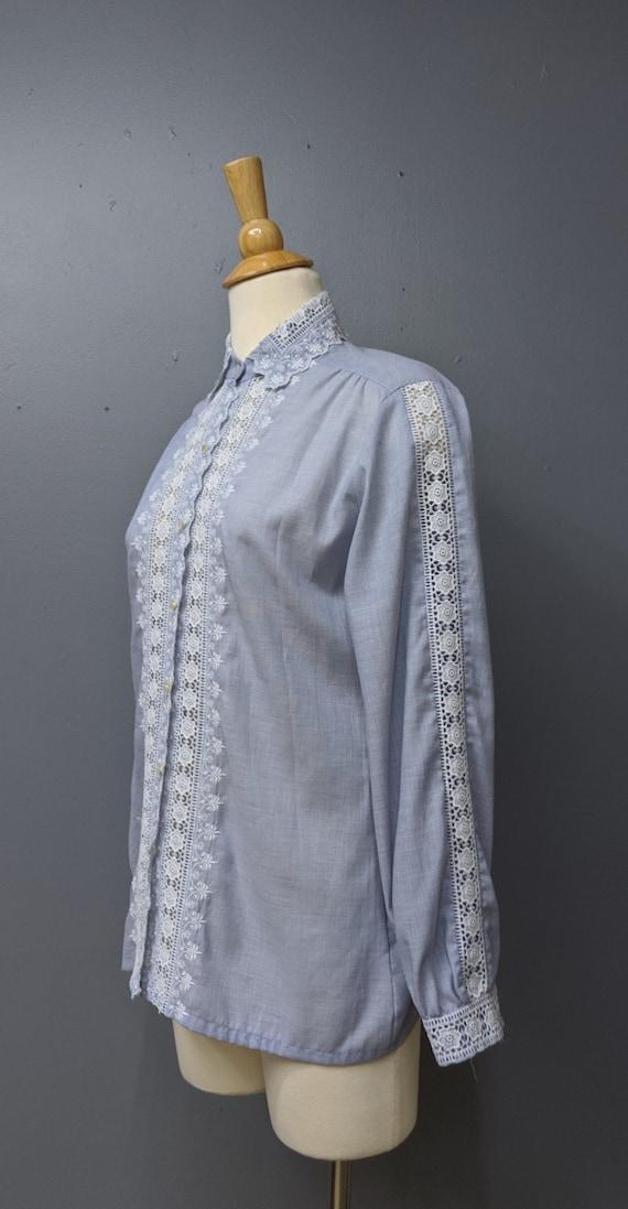 Romantic Chambray Lace Blouse/Button Up Blouse/La… - image 3
