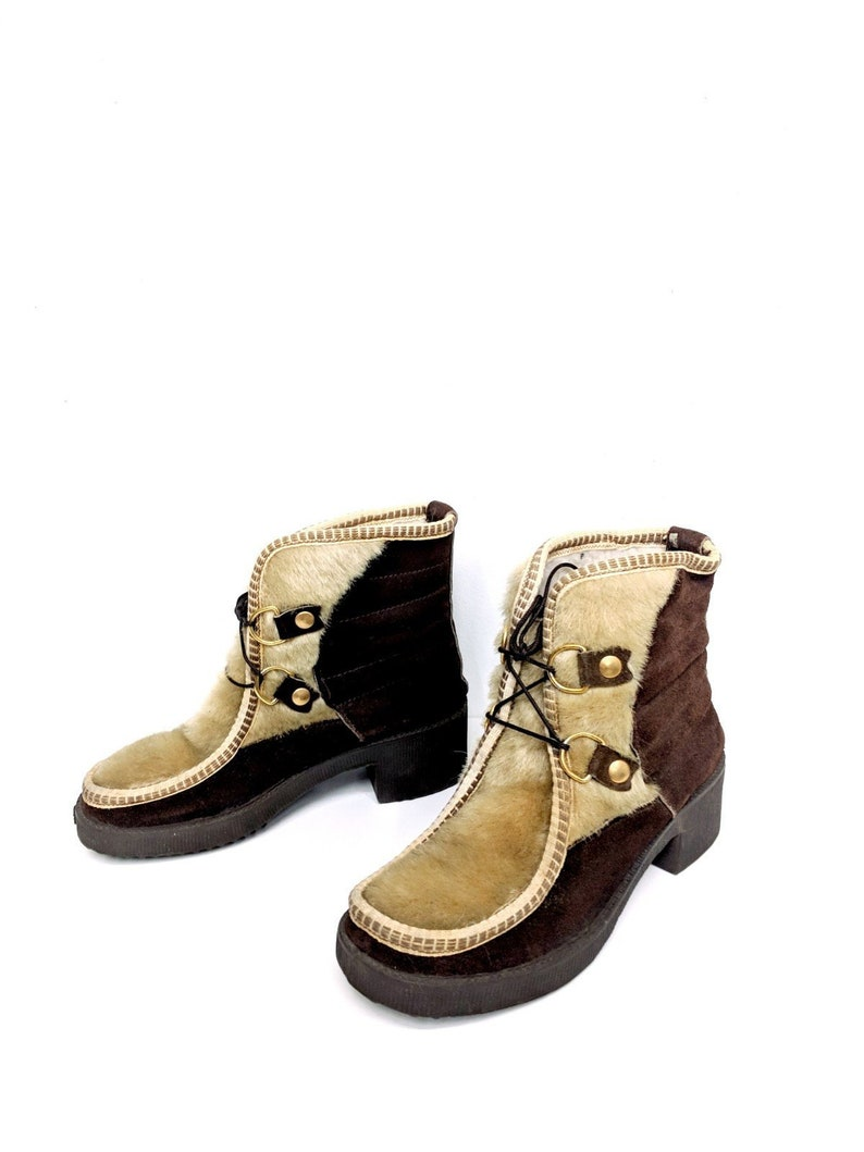 ef354f64f34 70 s Italian Suede and Pony Hair Boots Size 6.5 Snow