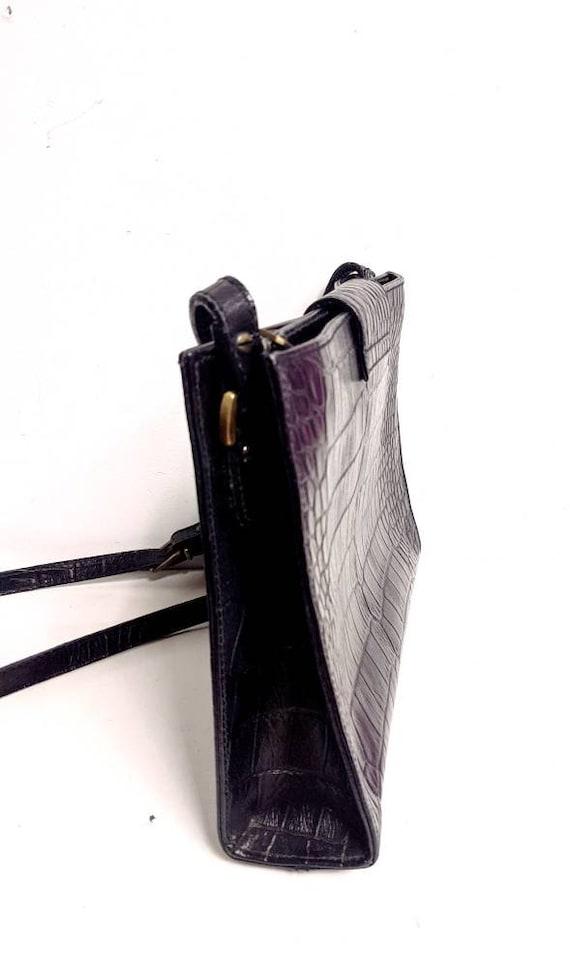 Liz Claiborne/Black Leather Crocodile Purse/80's/… - image 3