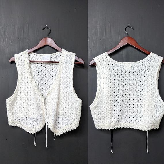 512a056224e38b Vintage 70 s Cream Crochet Vest Size Small Landon