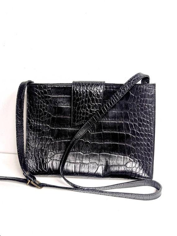 Liz Claiborne/Black Leather Crocodile Purse/80's/… - image 1