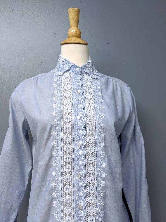Romantic Chambray Lace Blouse/Button Up Blouse/La… - image 2