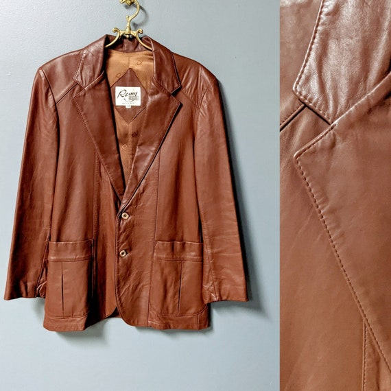 Remy/Men's Vintage 70's Brown Leather Jacket/Size