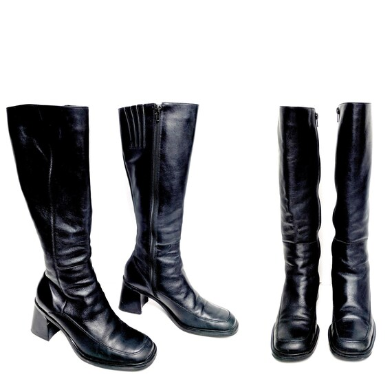 0004255d7763 70 s Black Leather Knee High Boots Size 7.5 Square Toe