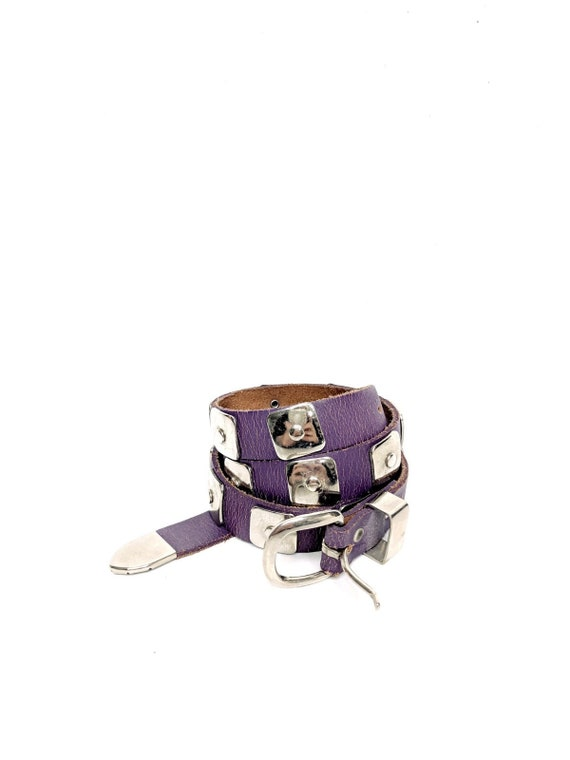 Purple Leather Belt with Silver Hardware/Size 28/W