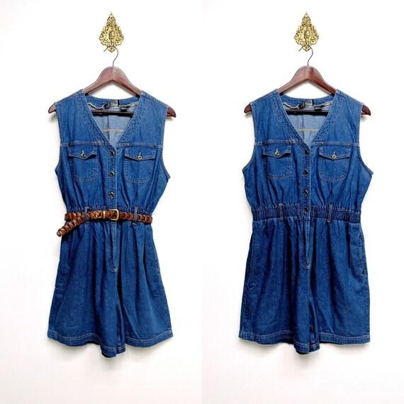 bf031e8b8c Denim Romper Vintage 1980s Blue Jean Sleeveless Shorts Jumper