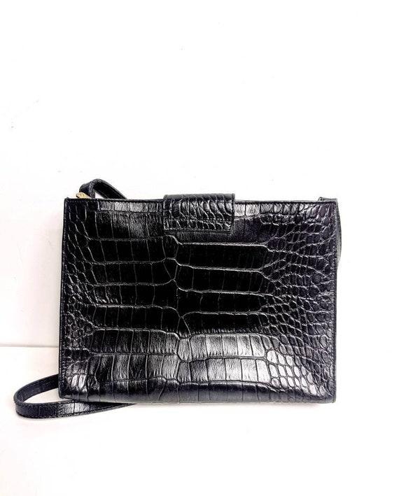 Liz Claiborne/Black Leather Crocodile Purse/80's/… - image 2