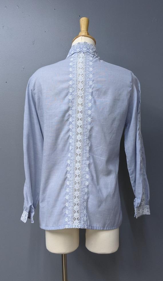 Romantic Chambray Lace Blouse/Button Up Blouse/La… - image 4