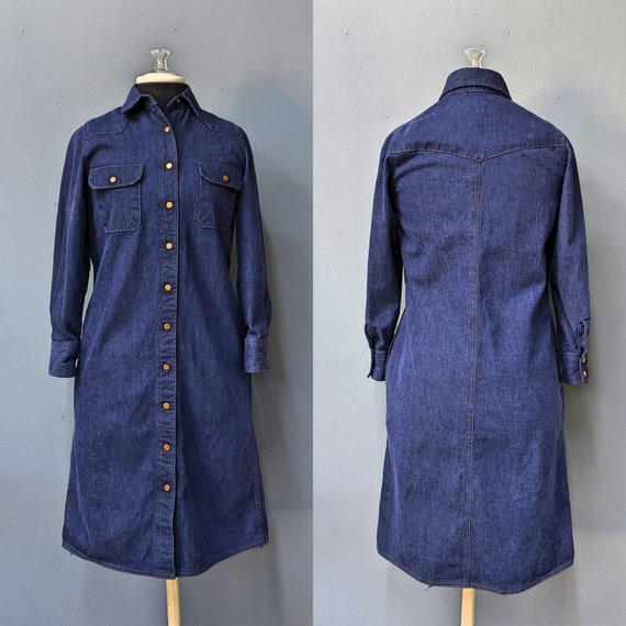Handmade 70's Denim Dress/Size Small/Medium/Classi