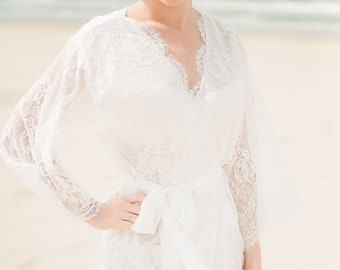 Ivory lining - VICTORIA lace robe - Chantilly lace robe - bridal lace robe  - lace kimono - ivory - STYLE 215 249807019