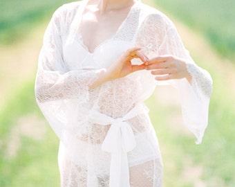ready to ship - EMMA lace robe - Chantilly lace robe - bridal lace robe - lace  kimono - ivory - STYLE 115 5d0469c5b