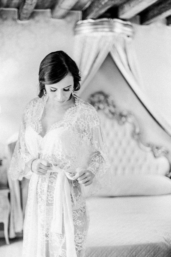 VICTORIA short lace robe - Chantilly lace robe - bridal lace robe - lace  kimono - ivory - STYLE 215 62228d26e