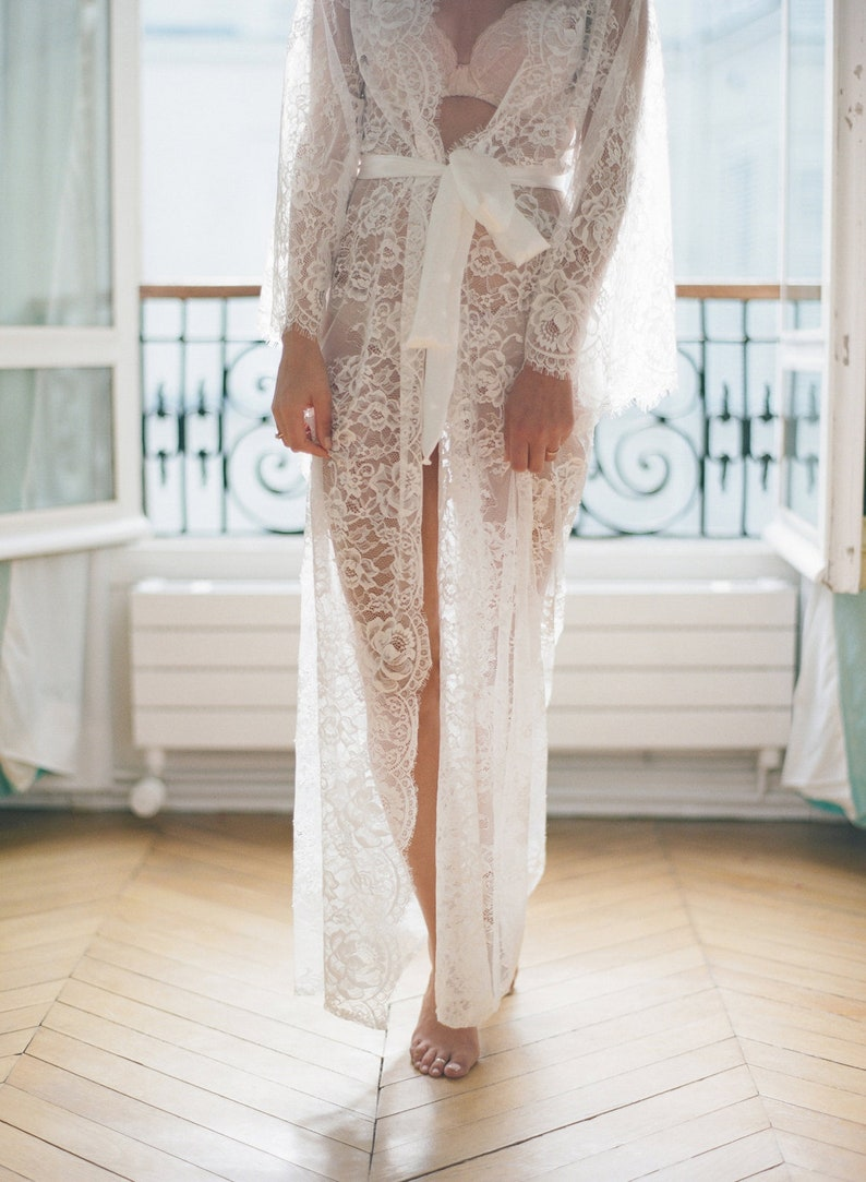 8023056de READY to ship   Eva Long lace robe Chantilly lace robe