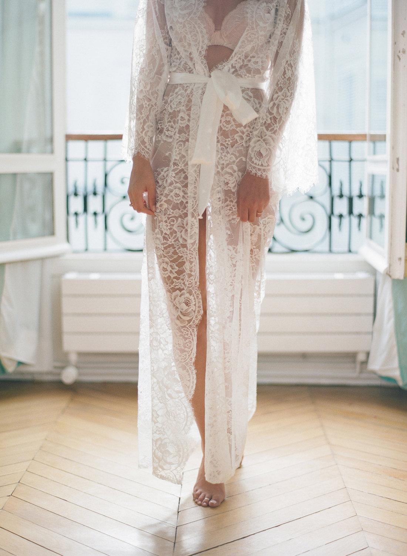 READY to ship   Eva Long lace robe Chantilly lace robe  350982a41