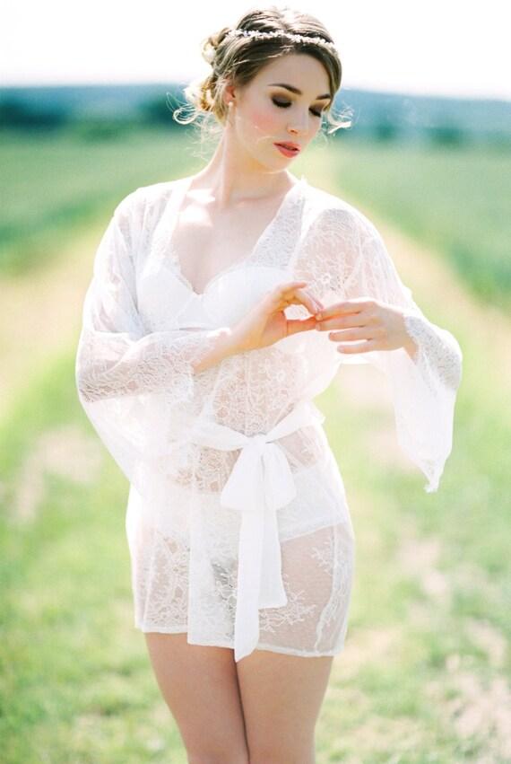 ready to ship EMMA lace robe Chantilly lace robe bridal  ac0403170