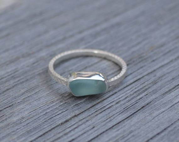Sterling Silver Bezel Genuine Sea Glass Ring with Decorative Silver Band