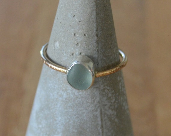 Dainty Sterling Silver Bezel Genuine Sea Glass with Dainty Gold Band Hammered Ring