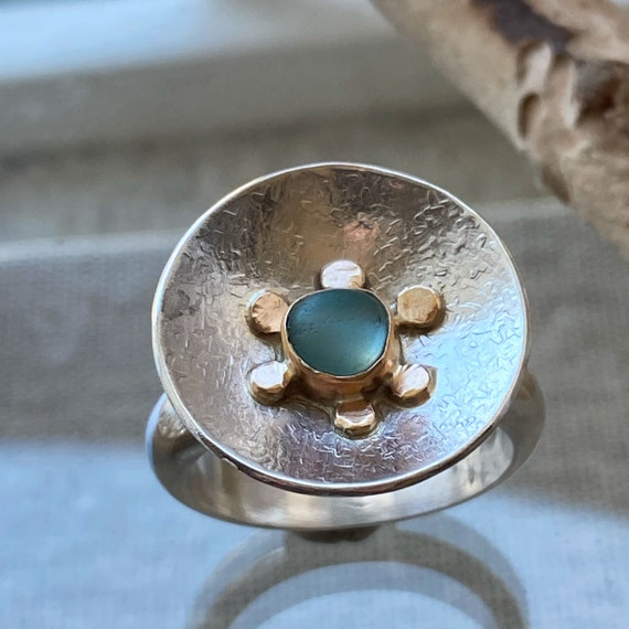 Sea Glass Ring I Mixed Metal Sea Glass Ring I Sea Glass Jewelry by Kate Samson Design