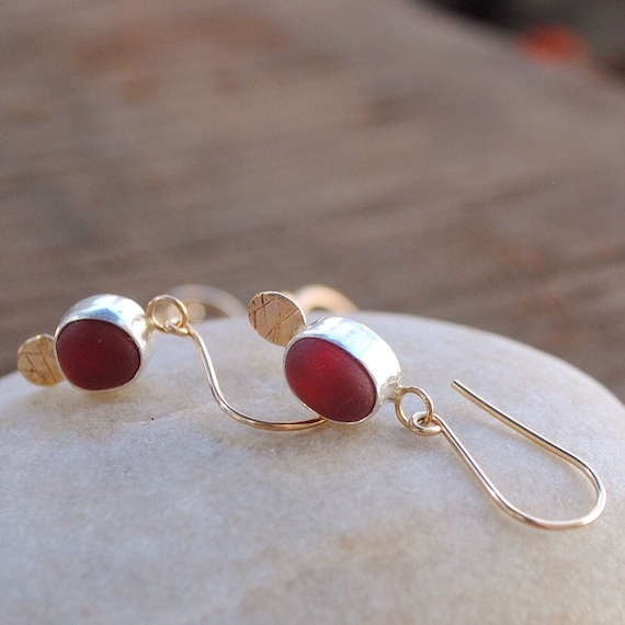 14k Gold and Sterling Silver Sea Glass Earrings  l  Genuine Sea Glass  l  Sea Glass Jewelry by Kate Samson