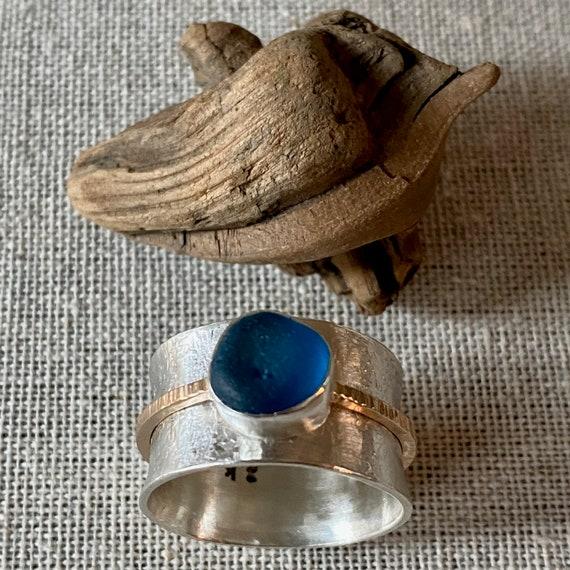 Sea Glass  Spinner Ring | Spinner Ring | Sterling Silver and 14k Gold Sea Glass Ring | Sea Glass Ring | Sea Glass Jewelry | Sea Glass