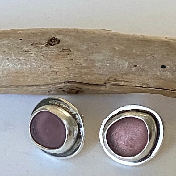 Sterling Silver Rare Pink Sea Glass Stud Earrings   Genuine Sea Glass   Sea Glass Studs   Beach Glass