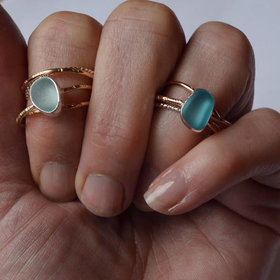 Sterling Silver Bezel Genuine Sea Glass Puzzle Ring Three Gold aand One Twisted Sterling Silver Bands