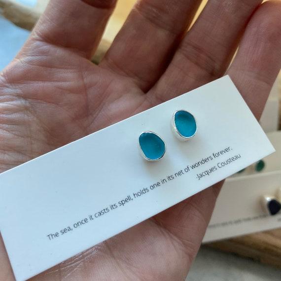 Custom Order for Tisha I Sea Glass Studs I Sterling Silver Bezel Genuine Sea Glass Stud Earrings