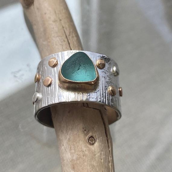 Sea Glass Ring | Bright Aqua Sea Glass I size 10 | Sterling Silver and 14k Gold Sea Glass Ring | Sea Glass Jewelry