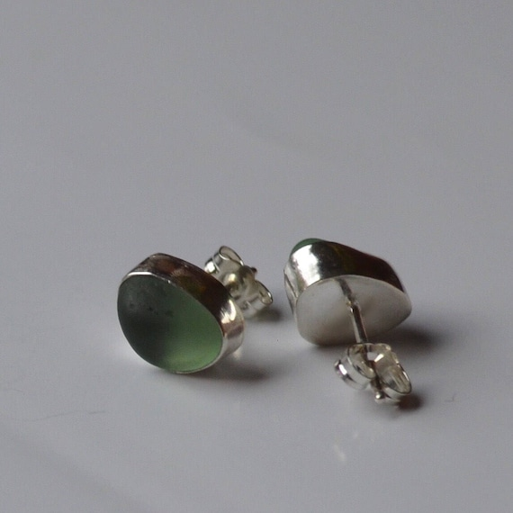 Sterling Silver Bezel Genuine Sea Glass Stud Earrings