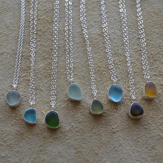 Dainty Sterling Silver Bezel Sea Glass Pendants with Sterling Silver Chain . Beach Glass . Genuine Beach Glass . Sea Glass Charm