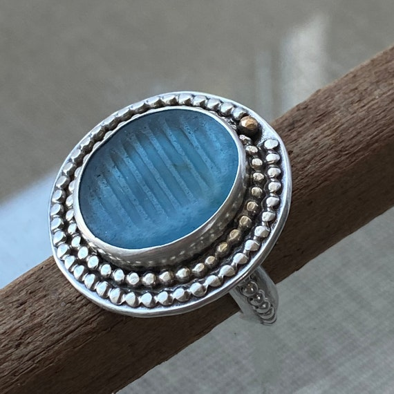 Sea Glass Ring  l  Sterling Silver Bezel Ohajiki Sea Glass Marble  l  Sea Glass Jewelry by Kate Samson