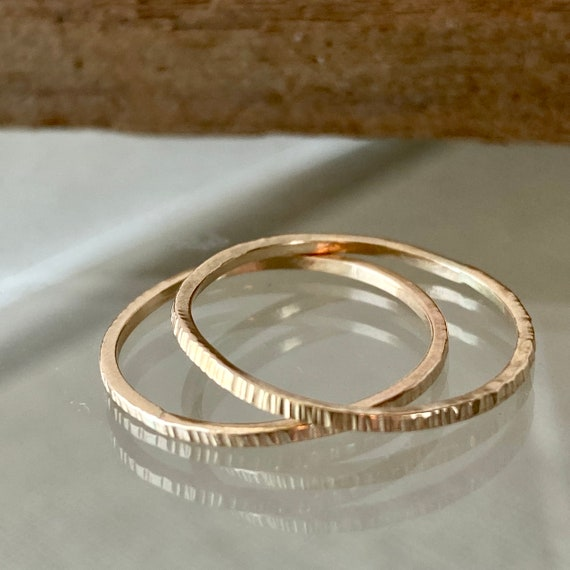 14k Gold Stacking Rings I Hand Hammered Gold Ring
