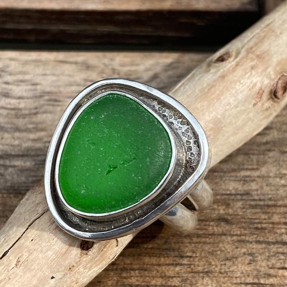 Green Sea Glass Ring - size 7.5  I Statement Sea Glass Ring I Beach Glass Ring I Kate Samson Jewelry