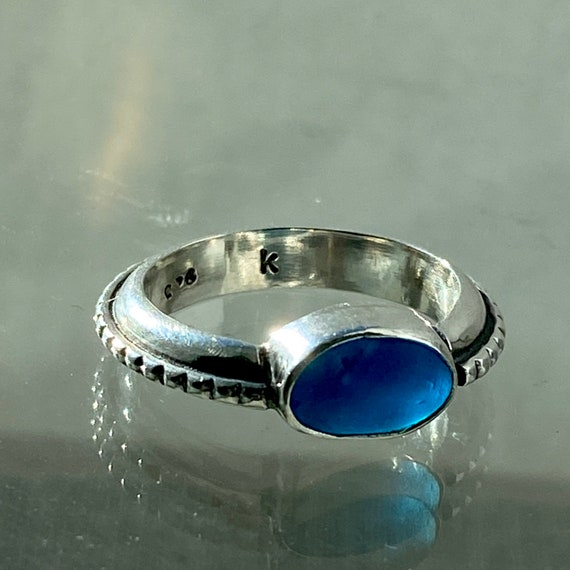 Sea Glass Ring l Sterling Silver with Beaded Band l Size 6.5 l Sea Glass Jewelry by Kate Samson