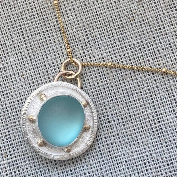 Sea Glass Pendant I Genuine Sea Glass I Mixed Metal I Kate Samson Jewelry