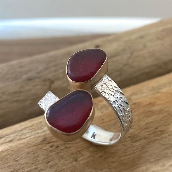 Custom Order for Lisa | Sea Glass Ring | 14k Gold Bezel | Double Sea Glass Ring