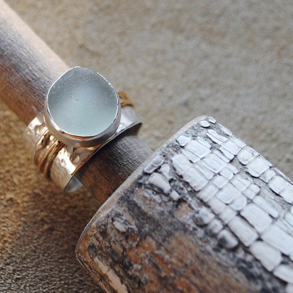 Sterling Silver Bezel Genuine Sea Glass attached to Delicate 14k Gold Ring Spinner with Wide Sterling Silver Band. Meditation Ring