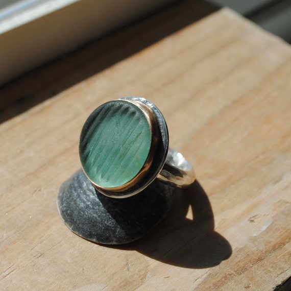 14k Gold Bezel Genuine - Sea Glass Ring with Wide Sterling Silver Band - Ohajiki Sea Glass Marble
