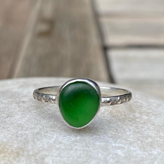 Sea Glass Ring I Genuine Sea Glass I Sterling Silver Bezel Green Sea Glass Ring