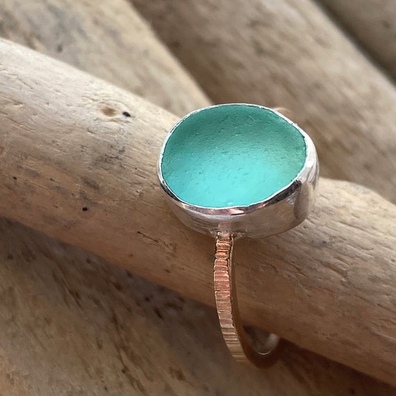 Sea Glass Ring | Sterling Silver & Authentic Sea Glass Ring | Beach Glass Ring | Eco Friendly | Sea Glass Jewelry | Beach Glass Jewelry