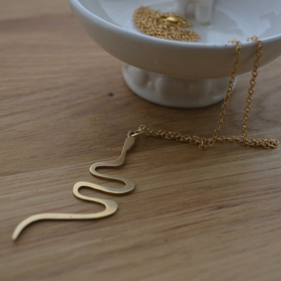 Snake Rebirth Pendant with Chain . Polished Brass Pendant