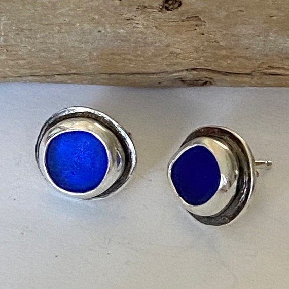 Sterling Silver Cobalt Blue Sea Glass Stud Earrings, ready to ship