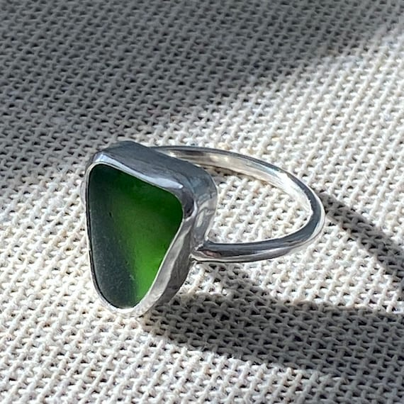 Sea Glass Ring I Sterling Silver Bezel Ring I Sea Glass Jewelry by Kate Samson