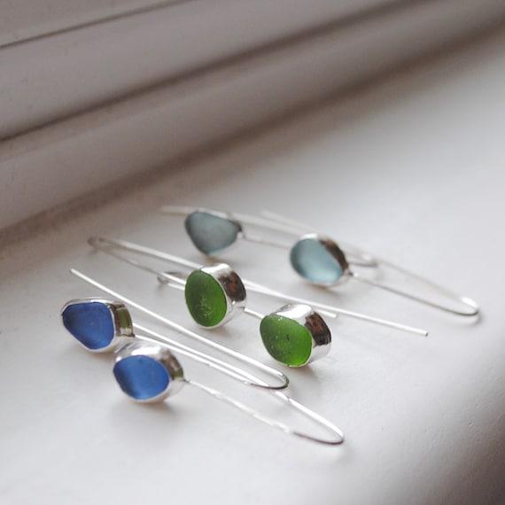 Sea glass | Sea Glass Earrings I Sea Glass Threader Earrings I Sea Glass Jewelry